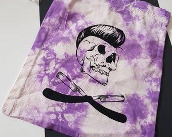 Tie dye skull drawstring storage bag
