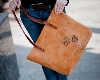 bags purses totes tote with print sand-colored leather tote with dandelions leather handbag Leather bag any print leather market bag