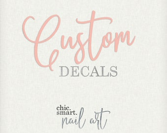 Custom Nail Decals : Customized - Personal - Bespoke - Personalized  - Vinyl Nail Decals - 32 Color Choices