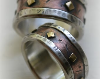 rustic wedding ring set - fine silver and copper and brass - handmade oxidized fine silver copper and brass wedding bands - customized
