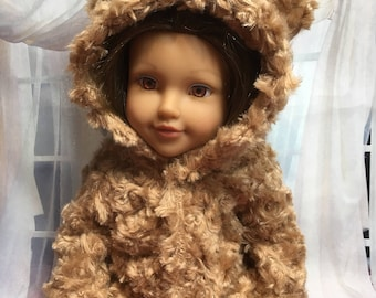Beige Cabbage Rose Hooded Jacket with Ears for your 18 Inch Doll - such as American Girl, Newberry and more!