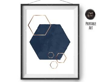 Navy and Copper Art, Hexagon Print, Geometric Poster, Navy Print, Minimalist Print, Home Decor, Downloadable Art, Digital Poster, Printable