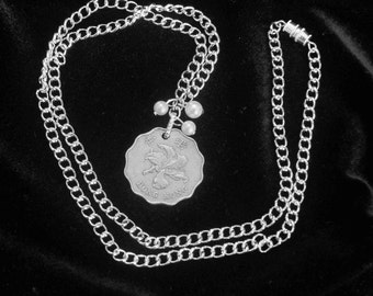 GREAT GIFT IDEA. Silver and Pearls Necklace with Hong Kong Two Dollars Coin, Silver chain link necklace, Glass Pearls