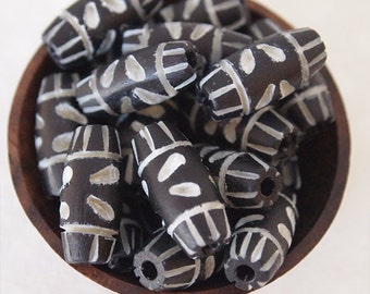 6 Bone Beads Oval Carved Handmade Ethnic Tribal Bohemian Beads Size 18 x 9mm