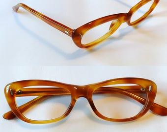 Amber Colored Tortoise Cateye Glasses, Vintage New Old Stock Cat Eye Style Eyeglasses Eyeglass Frames