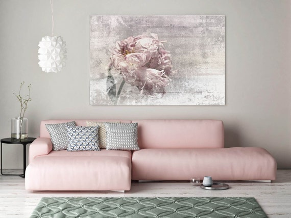 "Romantic Peony. Floral Painting Canvas Print, Shabby Chic Rustic Blur Blush Pink Gray Large Canvas Art Print up to 72"" by Irena Orlov"