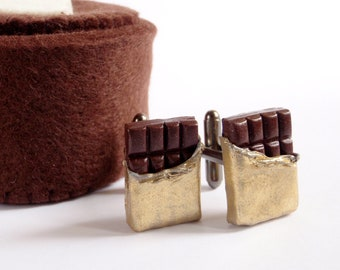 I Love Chocolate Cufflinks - To Miniature Food Art Jewelry Collectable - Schickie Mickie Original