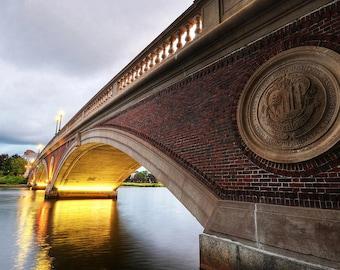 John Weeks Bridge in Harvard Square, Cambridge MA, Charles River, Harvard University, Bridge Photography, Bridge Decor, Bridge Print