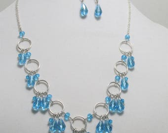 Sky Blue Crystal Statement Necklace and Earring Set