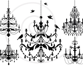 Vintage chandelier clip art set with birds, digital clipart, scrapbooking, home decor, cottage chic, silhouette, SVG files, instant download
