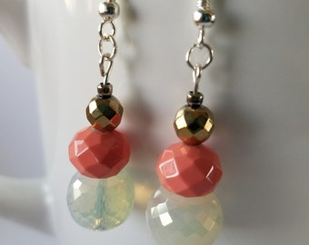 Coral, Gold and White Earrings