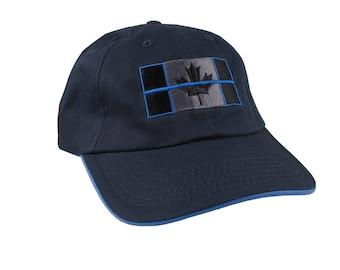 A Canadian Thin Blue Line Flag Symbolic Black Charcoal Blue Embroidery Adjustable Navy and Blue Trimmed Unstructured Adjustable Baseball Cap