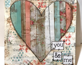 Valentines Day Decor, Vintage Floral heart, You & Me, Valentine Sign, Painted Heart Sign