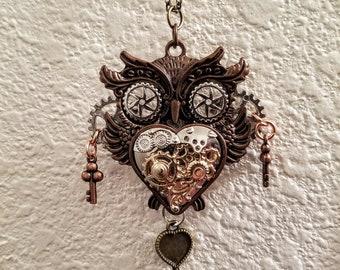 Steampunk owl pendant necklace