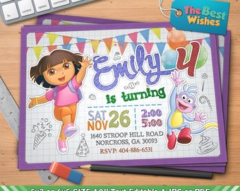 Dora the Explorer Invitation, Dora Birthday Party, Cartoon, Personalized, Printable, Ballpoint Pen Drawing On Grid Paper, Digital File