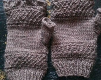 Handknit Wool Fingerless Mittens