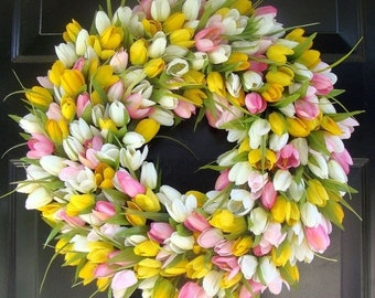 SUMMER WREATH SALE Spring Wreath- Mother's Day Wreath- Spring Decoration- 20 inch Custom Tulip Wreath- Spring Wreath for Door  The Original