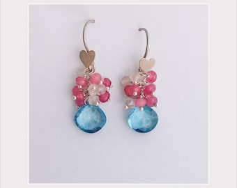 Gemstone cluster earrings, 100% sale price donated to Democrats