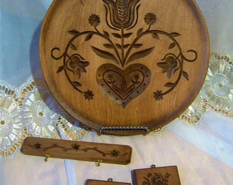 Wooden Carved Folk Art Plate Set, Vintage, Cottage Wall, Artist D. D. Dilln
