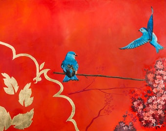 Very Impressive Acrylic painting on canvas with gold leaf. Asian influence, couple birds - red - blue - gold by Angela Bermejo