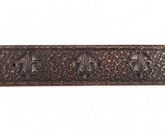 110mm Antique Copper Fleur de Lis Rectangle #ZWS035
