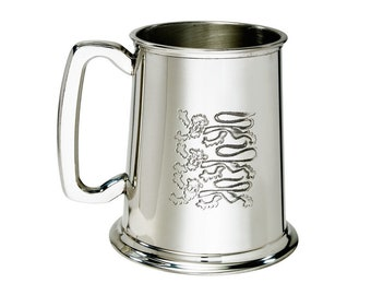 Three Lions Personalised 1 Pint Pewter Tankard - Customised Engraved Message