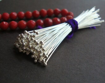 Bulk 50 pcs, 26ga gauge, 50mm, 2 inch, Bali Sterling Silver Handmade Ball End Headpins, Ball - 1.3mm