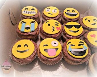 Emoji Fondant Cupcake Toppers (1 dozen)