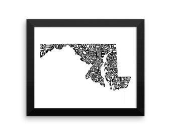 Maryland typography map art FRAMED print customizable personalized state poster custom wall decor engagement wedding housewarming gift