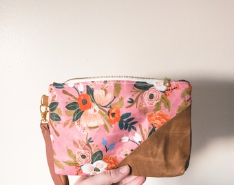 Rifle Paper Bag, Floral Bag, Waxed Canvas Pouch, Rifle Paper Co Purse, Waxed Canvas Bag, Wristlet Clutch, Floral Clutch, Mothers Day Gift