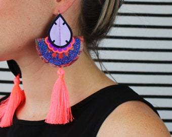 COLOURFUL TASSEL EARRINGS in neon coral, lilac and glittery blue. Statement earrings. U.V. Reactive, festival jewellery
