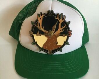 Vintage Novelty Deer Clock Trucker Hat
