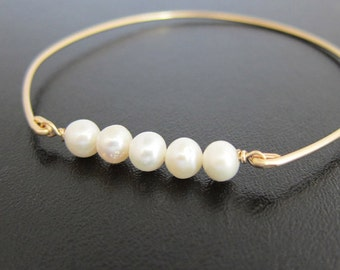 Cultured Freshwater Pearl Bracelet Wedding Bridesmaid Cultured Pearl Jewelry Cultured Pearl Bangle Bracelet for Women Cultured Pearl Braclet