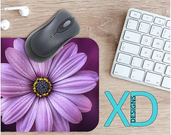 Purple Flower Mouse Pad, Purple Flower Mousepad, Floral Rectangle Mouse Pad, Purple, Floral Circle Mouse Pad, Purple Flower Mat, Computer