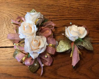 Pink Gold Blush Rose Corsage and Boutonniere (Artificial Flowers)