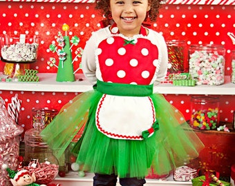 CHRISTMAS apron Christmas MINNIE MOUSE apron kids tutu Dress up apron red  Polka Dots Christmas apron for girls