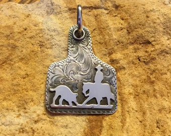 Ear Tag Cutter Pendent / Sterling Silver/ Artisan Handmade and Engraved