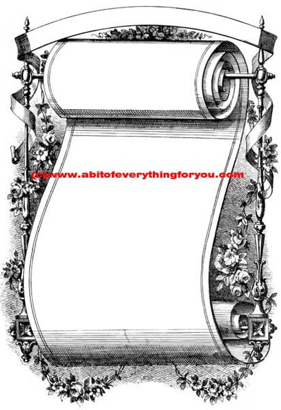 fancy scroll frame clipart png Digital Download printable art vintage Image graphics flowers borders digital stamp