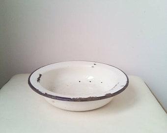 20%Off Cream Kitchenalia - vintage enamel cream plate - enamelware cottage chic farmhouse