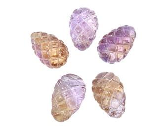 1 Pc 15x24 mm Ametrine Special Cut Pineapple Shaped Gemstone Beads (AMT100104)