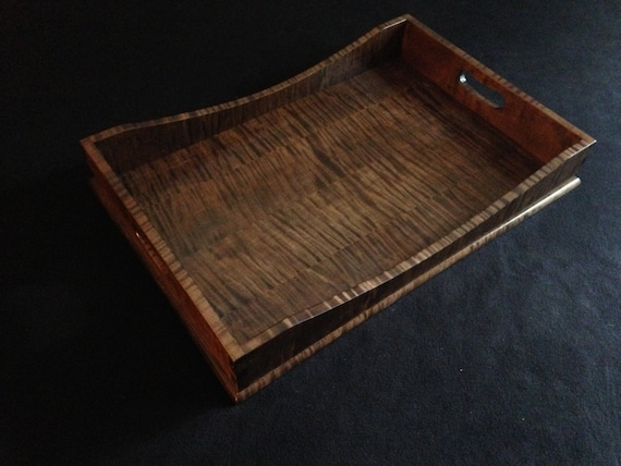 "15"" x 21"" Brown Tiger Maple Serving Tray"