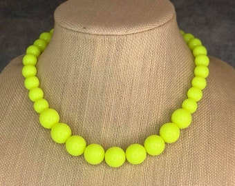 Statement Necklace, Neon Yellow, Beaded Necklace, Chunky Necklace, Round Bead Necklace, Yellow Necklace, Big Bead Necklace, Big Necklace