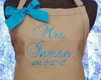 Personalized Apron Monogrammed Apron Kitchen Apron Wedding Bride Embroidered Apron Shower Gift