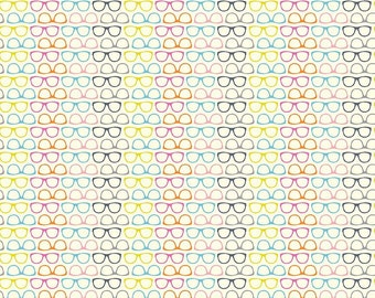 Novelty Glasses Multi by Riley Blake Designs - Rainbow Cream - Quilting Cotton Fabric - choose your cut