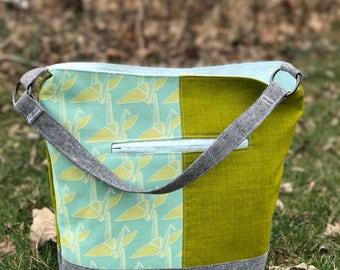 Bonnie Bucket Bag in Paper Cranes   Purse   Shoulder Bag   Hobo Bag   Handbag
