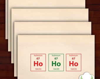 Holiday greeting card set - Thinking of you periodically - Periodic Table, humor