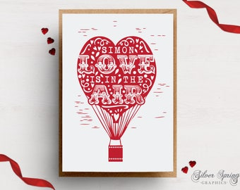 A6 Card - Personalised Love is in the air - Hot Air Balloon Theme