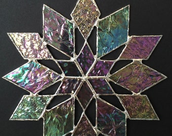 stained glass snowflake suncatcher  (design 34B)