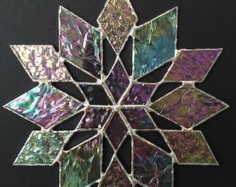 stained glass snowflake suncatcher  (design 34B)