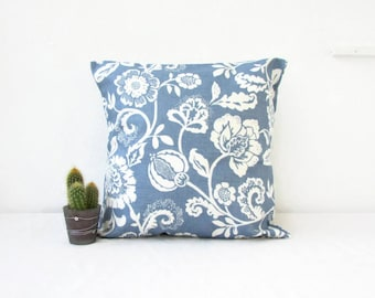 Blue leaf print cushion cover, floral pillow cover, traditional style cushion, British designer, Clarke & Clarke, Handmade in the UK